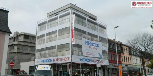 XXL-Digitaldruck - Banner, Fassadenbanner, Mesh - Medicon Apotheke in Erlangen